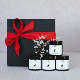 Zestaw prezentowy ze świecami sojowymi