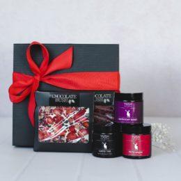 Słodki zestaw prezentowy czekolady i 3 świece sojowe
