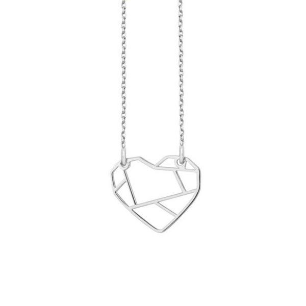 Srebrny naszyjnik origami serce Heartbeat