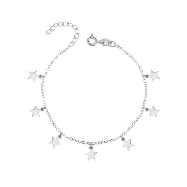 Bransoletka srebrna z siedmioma gwiazdkami - świece sojowe Yush