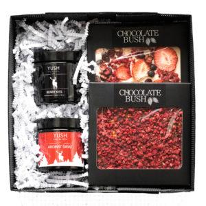 Słodki zestaw prezentowy czekolady i świece sojowe II