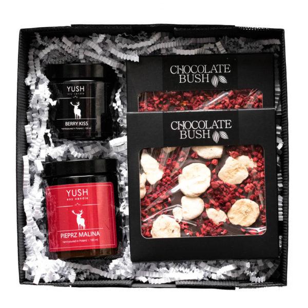 Słodki zestaw prezentowy czekolady i świece sojowe