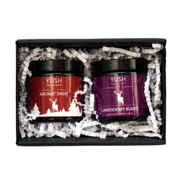 Świąteczny zestaw prezentowy 2 świece z lawendą - świece sojowe Yush